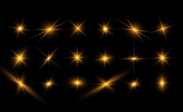Zestaw jasnych, pięknych świateł. efekt świetlny. jasne błyszczy ze specjalnym efektem świetlnym.