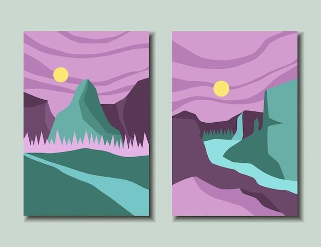 Zestaw jasnych plakatów z ilustracją wektorową krajobrazu