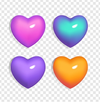 Zestaw jasnych serc 3d (kolor niebieski, fioletowy, pomarańczowy i różowy) na przezroczystym tle. gradientowe oznaki walentynki i miłości. ilustracja na ślub, plakat, zaproszenie, powitanie samochodu