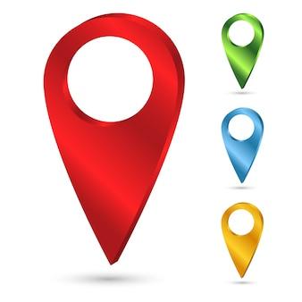 Zestaw jasnych wskaźników na mapie. ilustracja