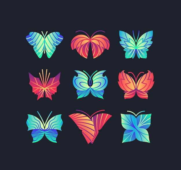 Zestaw jasnych, żywych motyli gradientowych. graficzne ikony, logo, znaki.