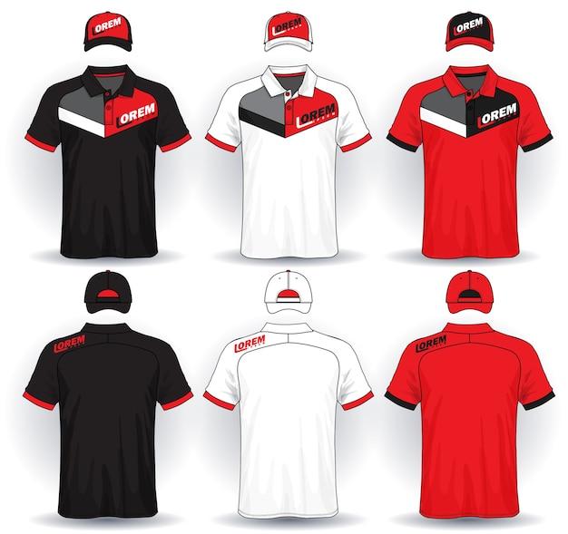 Zestaw jednolitego szablonu, koszulki polo i czapki.