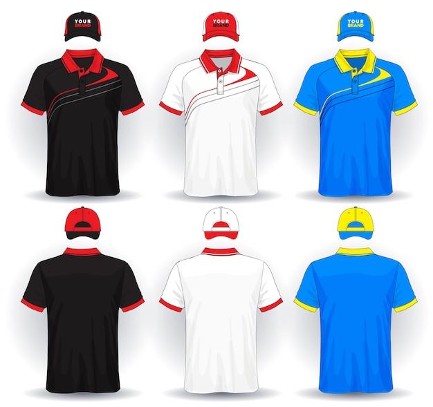 Zestaw jednolity szablon koszulki polo i czapki