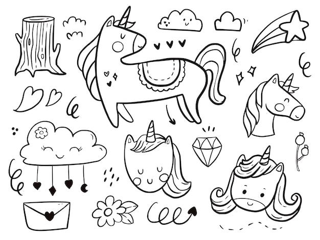 Zestaw jednorożca doodle rysunek kreskówka dla dzieci, kolorowanie i drukowanie