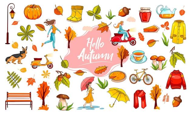 Zestaw jesień. duża kolekcja przedmiotów i ludzi poświęconych jesieni. styl kreskówki. ilustracja wektorowa do projektowania i dekoracji.