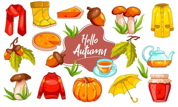Zestaw jesień. duży zbiór jesiennych przedmiotów. dynia, herbata, płaszcz przeciwdeszczowy, szalik, buty, grzyby, żołędzie w stylu kreskówki. ilustracja wektorowa do projektowania i dekoracji.