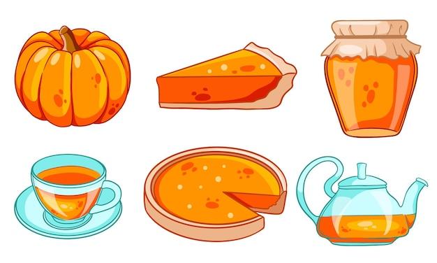 Zestaw jesień. kolekcja elementów jesiennych. dynia, gorąca herbata, czajnik, kubek, ciasto dyniowe, konfitura. styl kreskówki. ilustracja wektorowa do projektowania i dekoracji.