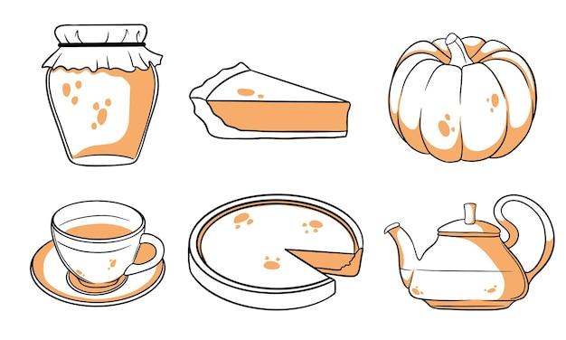 Zestaw jesień. kolekcja elementów jesiennych. dynia, gorąca herbata, czajnik, kubek, ciasto dyniowe, konfitura. styl linii. ilustracja wektorowa do projektowania i dekoracji.