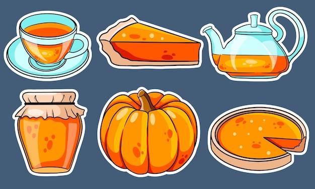 Zestaw jesień. kolekcja jesiennych przedmiotów naklejki. dynia, gorąca herbata, czajnik, kubek, ciasto dyniowe, konfitura. styl kreskówki. ilustracja wektorowa do projektowania i dekoracji.