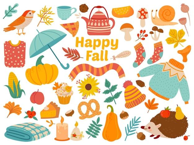 Zestaw jesień. kreskówka żółte rośliny, żywność i zwierzęta leśne, dożynki i atrybuty święta dziękczynienia dla karty, plakat wektor zestaw jako ciepła odzież, grzyby i liście. szczęśliwy upadek