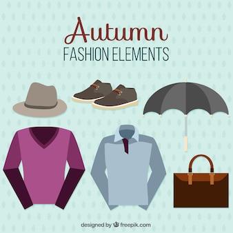 Zestaw jesienny odzieży męskiej i akcesoriów