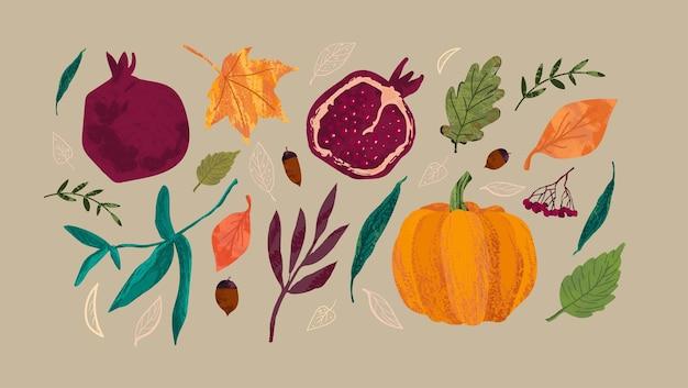 Zestaw jesienny. żniwa, granat, dynia, jasne liście, jarzębina, żołędzie.