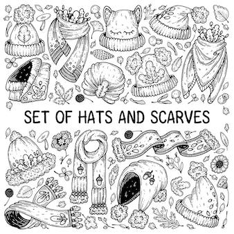 Zestaw jesiennych czapek i szalików.