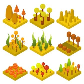 Zestaw jesiennych drzew. lesisty teren. obszar leśny. izometryczne elementy 3d do gier, map. liście pomarańczowe, czerwone i żółte. ilustracja wektorowa.