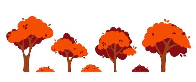 Zestaw jesiennych drzew na białym tle