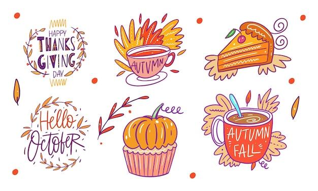 Zestaw jesiennych elementów. ręcznie rysowane kolorowe