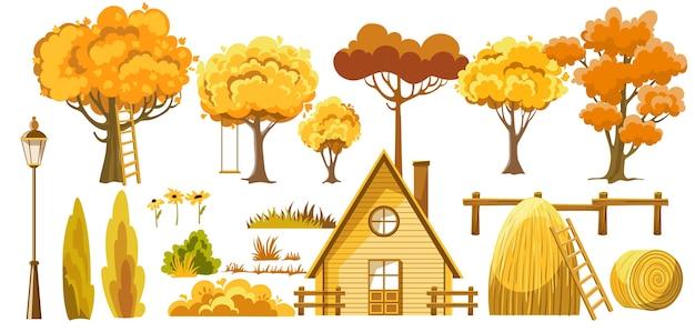 Zestaw jesiennych elementów tematycznych