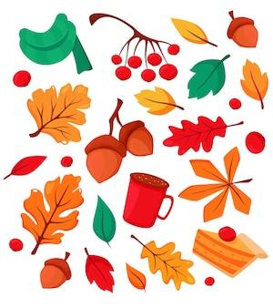Zestaw jesiennych elementów żołędzie, filiżanka kawy, jesienne liście, jarzębina, kalina, szalik, ciasto dyniowe. ilustracja w stylu płaski.