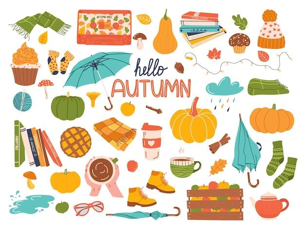 Zestaw jesiennych elementów