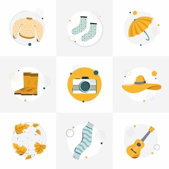 Zestaw jesiennych ilustracji dla instafeeds. sweter, skarpetki, parasol, buty, aparat fotograficzny, czapka, liście, szalik i gitara. ilustracja wektorowa płaski.