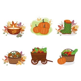 Zestaw jesiennych kompozycji, kliparty.