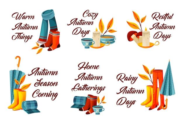 Zestaw jesiennych lub jesiennych dekoracyjnych fraz