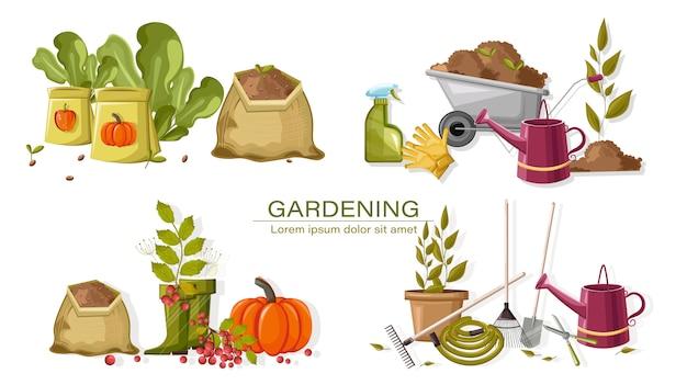 Zestaw jesiennych narzędzi ogrodniczych