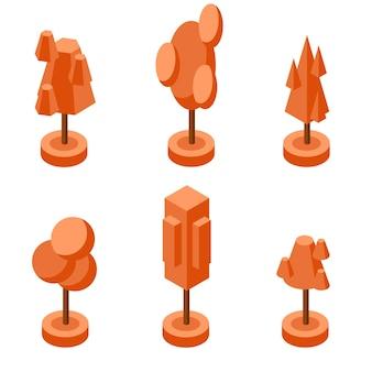 Zestaw jesiennych pomarańczowych drzew izometrycznych