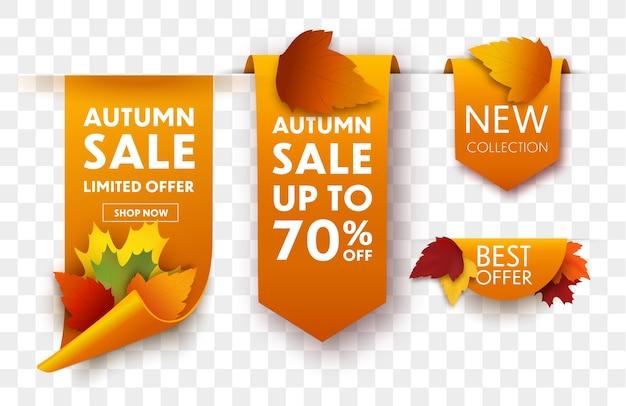 Zestaw jesiennych tagów sprzedaży z jesiennych liści. sprzedam banery.