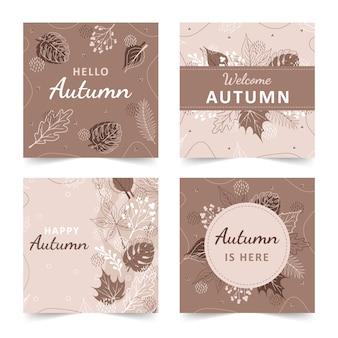 Zestaw jesiennych tła z abstrakcyjnymi elementami, geometrycznymi kształtami, roślinami i liśćmi w stylu jednej linii.