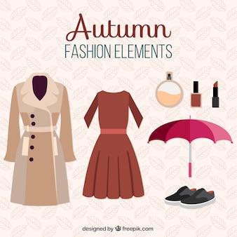 Zestaw jesiennych ubrań i przedmiotów