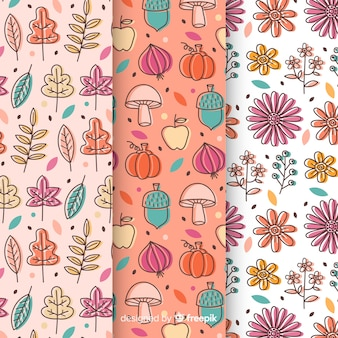 Zestaw jesiennych wzorów ręcznie rysowane stylu