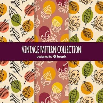Zestaw jesiennych wzorów stylu vintage