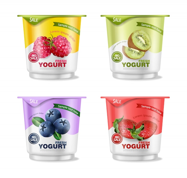 Zestaw jogurtów owocowych
