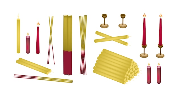 Zestaw joss sticks and candle for make merit