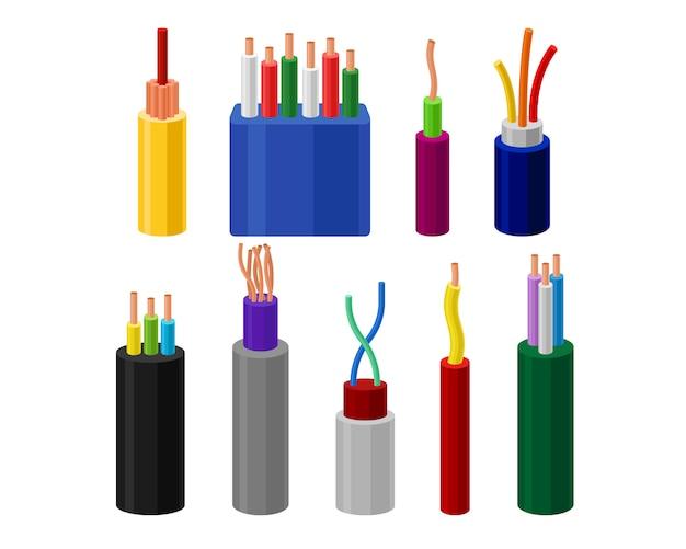 Zestaw kabli elektrycznych, przewody połączeniowe w wielobarwnej izolacji ilustracja