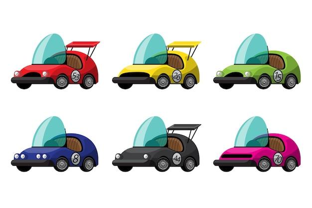 Zestaw kabrioletu wyścigowego w stylu vintage lub antycznym stylu fantazyjnym, różne kolory i wzornictwo na białym tle