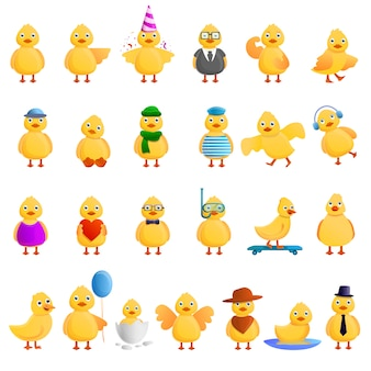 Zestaw kaczek, styl kreskówki
