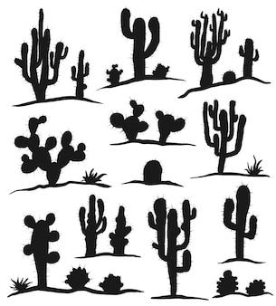 Zestaw kaktusów na białym tle