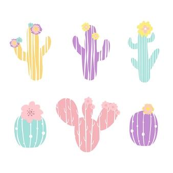 Zestaw kaktusów w pastelowych kolorach