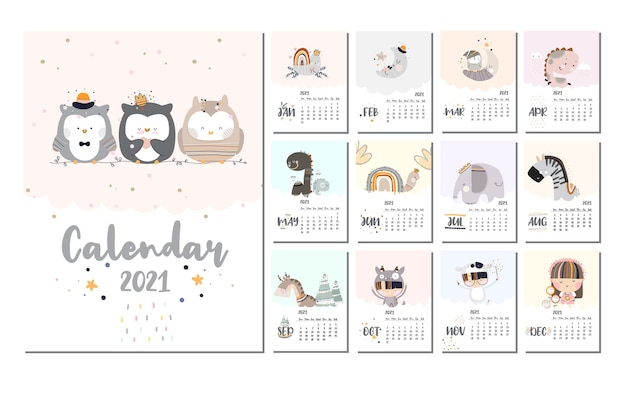 Zestaw kalendarza płaski ładny projekt