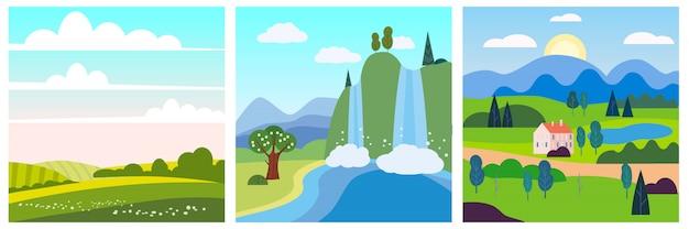 Zestaw kalendarza wiosna krajobraz w płaskiej minimalistycznym prostym stylu