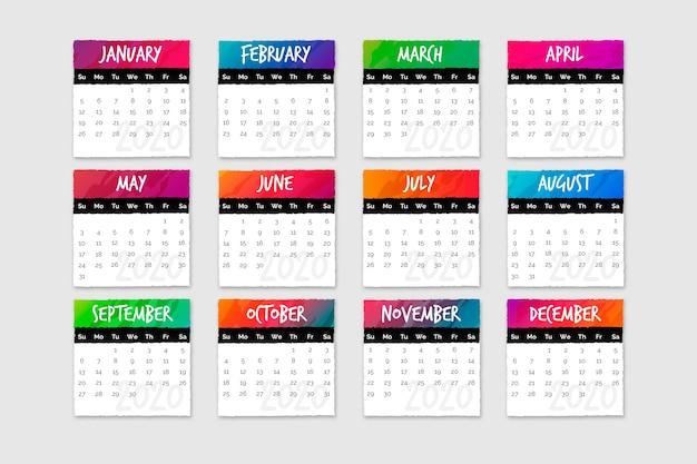 Zestaw kalendarzy z miesiącami i dniami