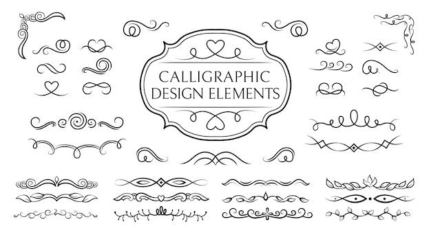 Zestaw kaligraficzny dzielnik, zawijanie i wirowanie. kwitnie granice, okółki warzywne winiety elementy dekoracyjne, ozdoby. eleganckie elementy graficzne tuszem czarno-biały rysunek. ilustracja