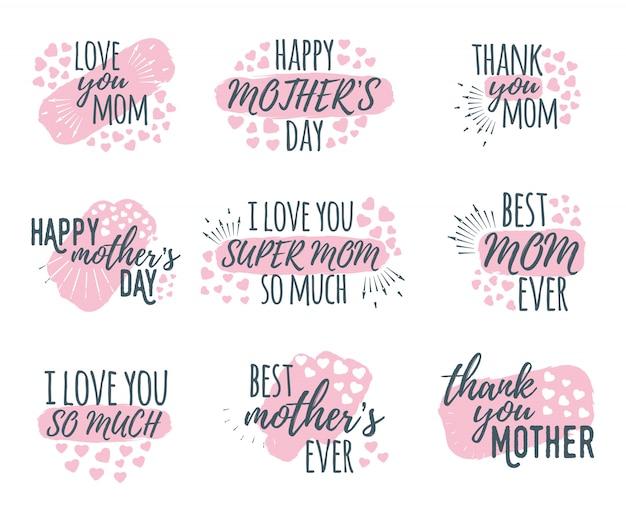 Zestaw kaligrafii i czcionki pozdrowienia projekt happy mother's day
