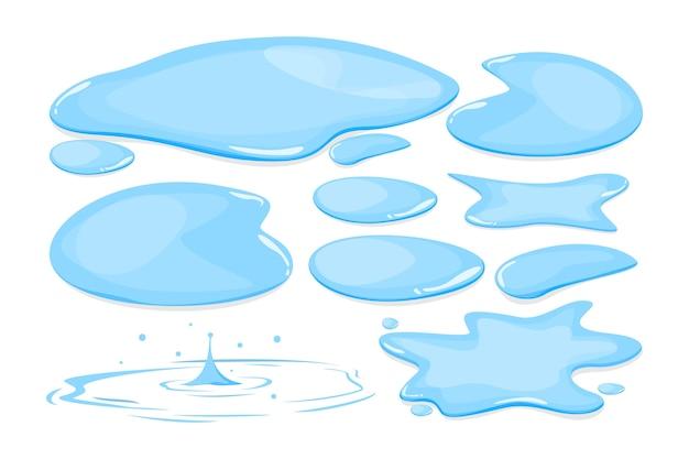 Zestaw kałuża wody na białym tle. niebieski naturalny płyn jesienią. czysta woda.