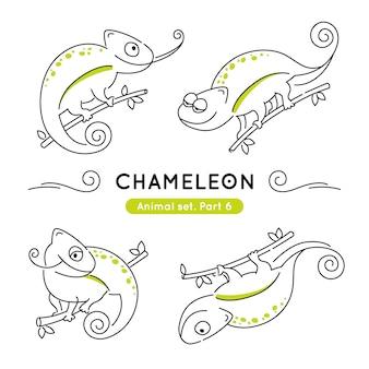 Zestaw kameleonów bazgroły w różnych pozach na białym tle