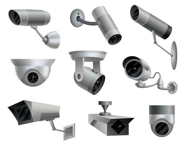 Zestaw kamer bezpieczeństwa. dekoracyjne kamery do monitoringu. system ochrony domu bezpieczeństwa. ilustracja wektora znaków cctv i kamery.