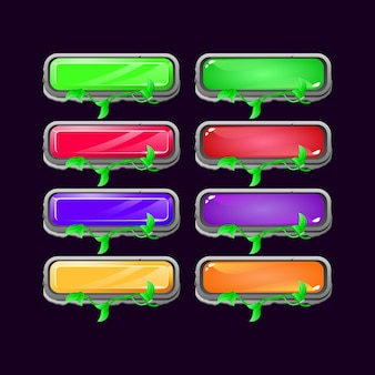 Zestaw kamieni interfejsu gry pozostawia diamentowy i galaretkowy kolorowy przycisk dla elementów aktywów gui