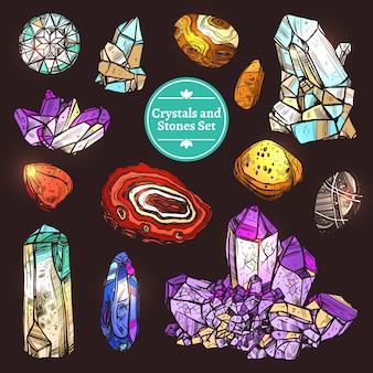 Zestaw kamieni kryształów